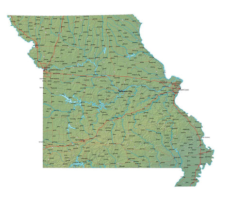 Digital Missouri map in Fit Together style with Terrain MO-USA-852119