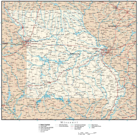 Missouri Map with Capital, County Boundaries, Cities, Roads, and Water Features