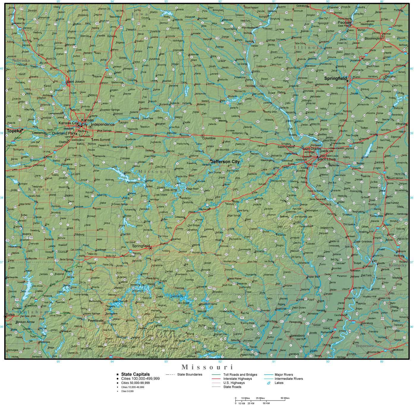 Missouri Map With County Lines.Missouri State Map Plus Terrain With Cities Roads Map Resources