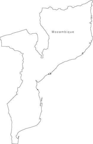 Digital Black & White Mozambique map in Adobe Illustrator EPS vector format