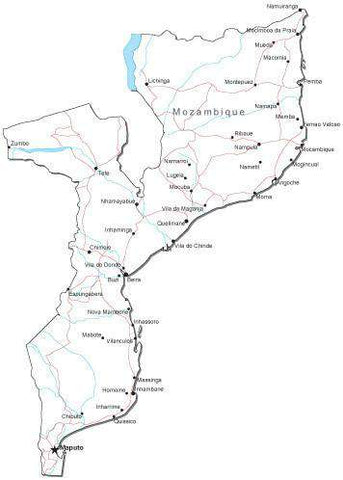 Mozambique Black & White Map with Capital, Major Cities, Roads, and Water Features