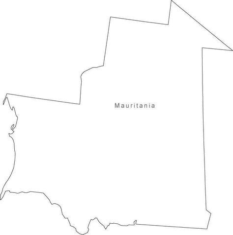 Digital Black & White Mauritania map in Adobe Illustrator EPS vector format