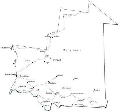 Mauritania Black & White Map with Capital, Major Cities, Roads, and Water Features