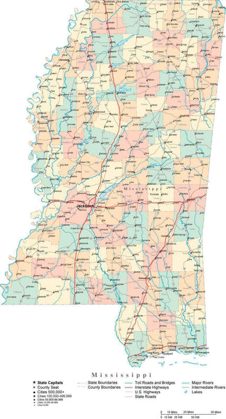 mississippi digital vector map with counties  major cities