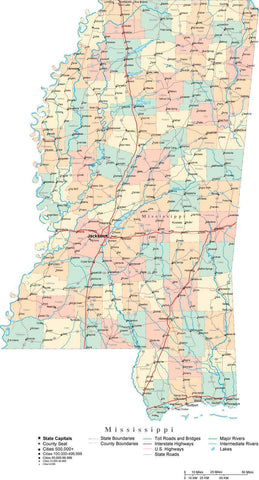 Mississippi State Map - Multi-Color Cut-Out Style - with Counties, Cities, County Seats, Major Roads, Rivers and Lakes