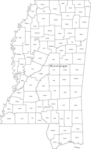 Black & White Mississippi Map with Counties