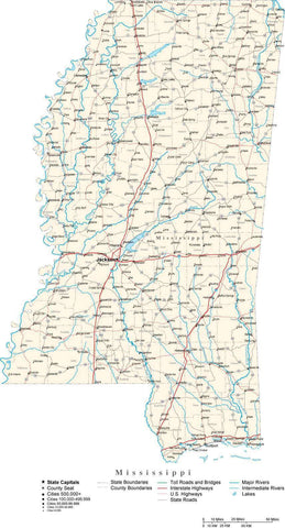 Mississippi Map - Cut Out Style - with Capital, County Boundaries, Cities, Roads, and Water Features