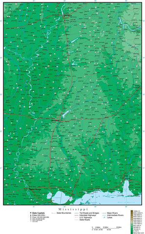 Mississippi Map with Contour Background