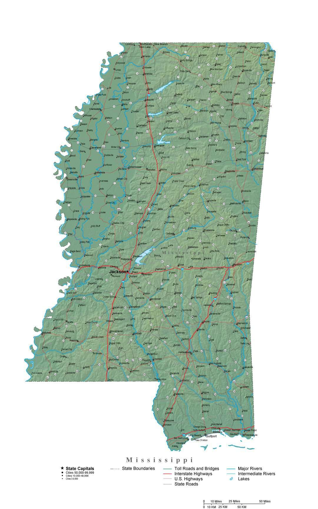 Mississippi Map - Cut-Out Style with Cities, Roads, Water Features on louisiana's map, maryland's map, kentucky's map, maine's map, oklahoma's map, mississippi regions map, ms road map, georgia's map, michigan's map, indiana's map, missouri's map, new mexico's map, mississippi county map, mississippi state map, new jersey's map,