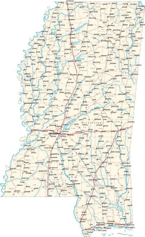 Mississippi State Map - Cut Out Style - Fit Together Series