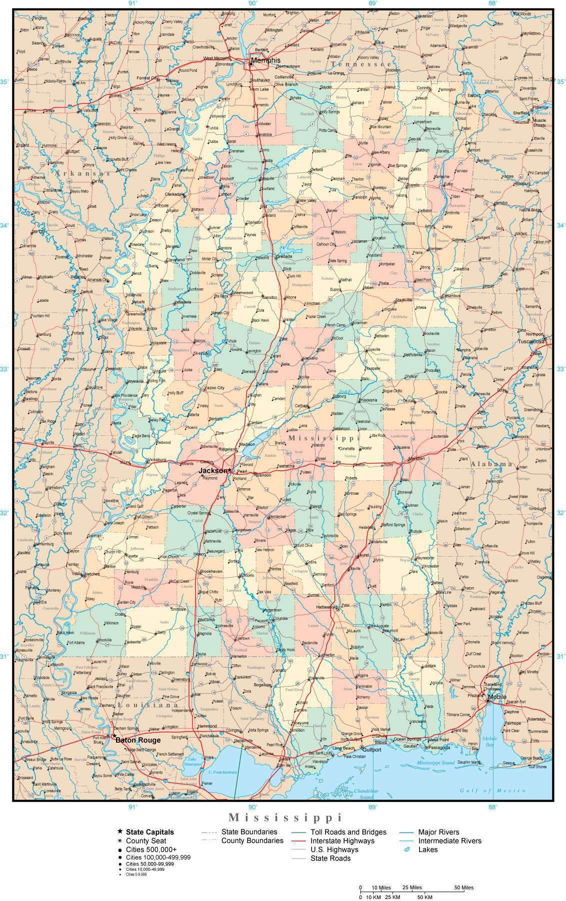 Picture of: Mississippi Adobe Illustrator Map With Counties Cities County Seats Major Roads