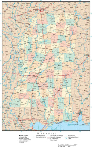 Mississippi Map with Counties, Cities, County Seats, Major Roads, Rivers and Lakes