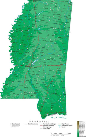 Mississippi Map  with Contour Background - Cut Out Style