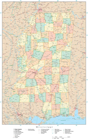 Poster Size Mississippi Map with Counties, Cities, Highways, Railroads, Airports, National Parks and more