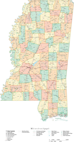 Poster Size Mississippi Cut-Out Style Map with Counties, Cities, Highways, National Parks and more