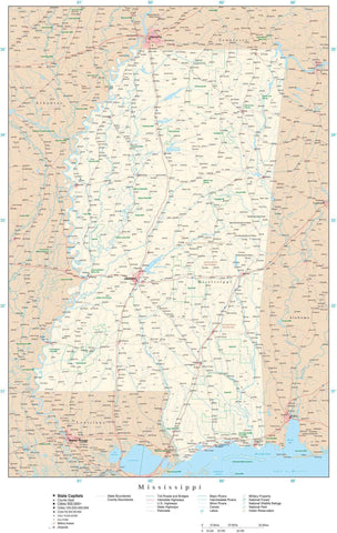 Poster Size Mississippi Map with County Boundaries, Cities, Highways, National Parks, and more