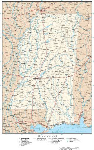 Mississippi Map with Capital, County Boundaries, Cities, Roads, and Water Features
