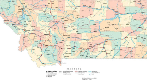 Montana Map - Cut Out Style - with Counties, Cities, County Seats, Major Roads, Rivers and Lakes
