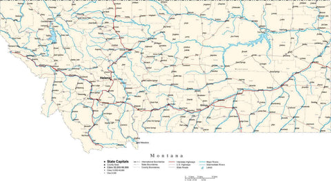 Montana Map - Cut Out Style - with Capital, County Boundaries, Cities, Roads, and Water Features
