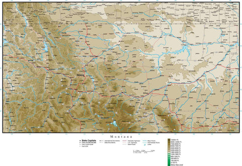 Montana Map with Contour Background