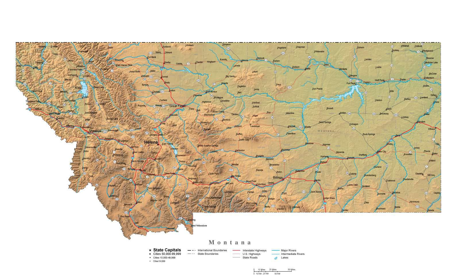Montana Map - Cut-Out Style with Cities, Roads, Water Features and Terrain  Background