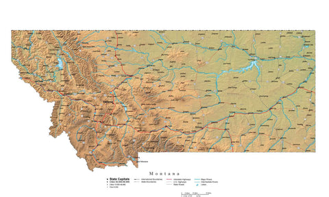 Digital Montana State Illustrator cut-out style vector with Terrain MT-USA-242008
