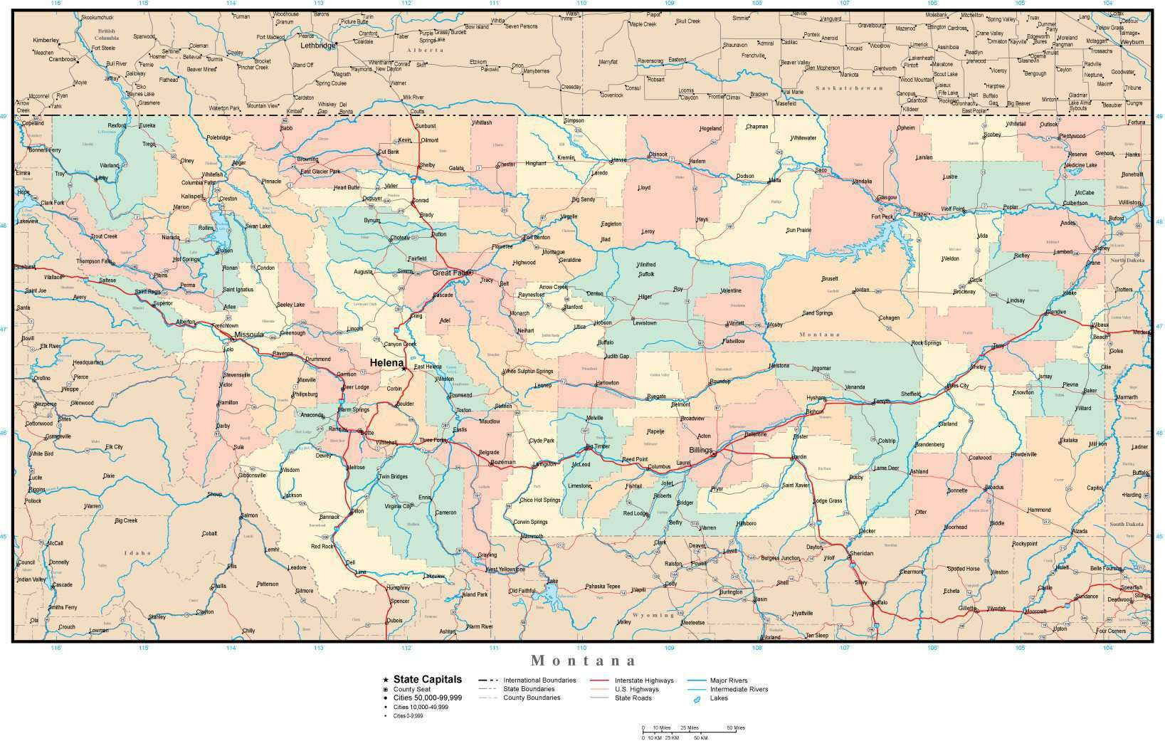Montana Adobe Illustrator Map With Counties Cities County Seats