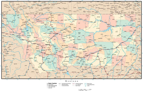 Montana Map with Counties, Cities, County Seats, Major Roads, Rivers and Lakes