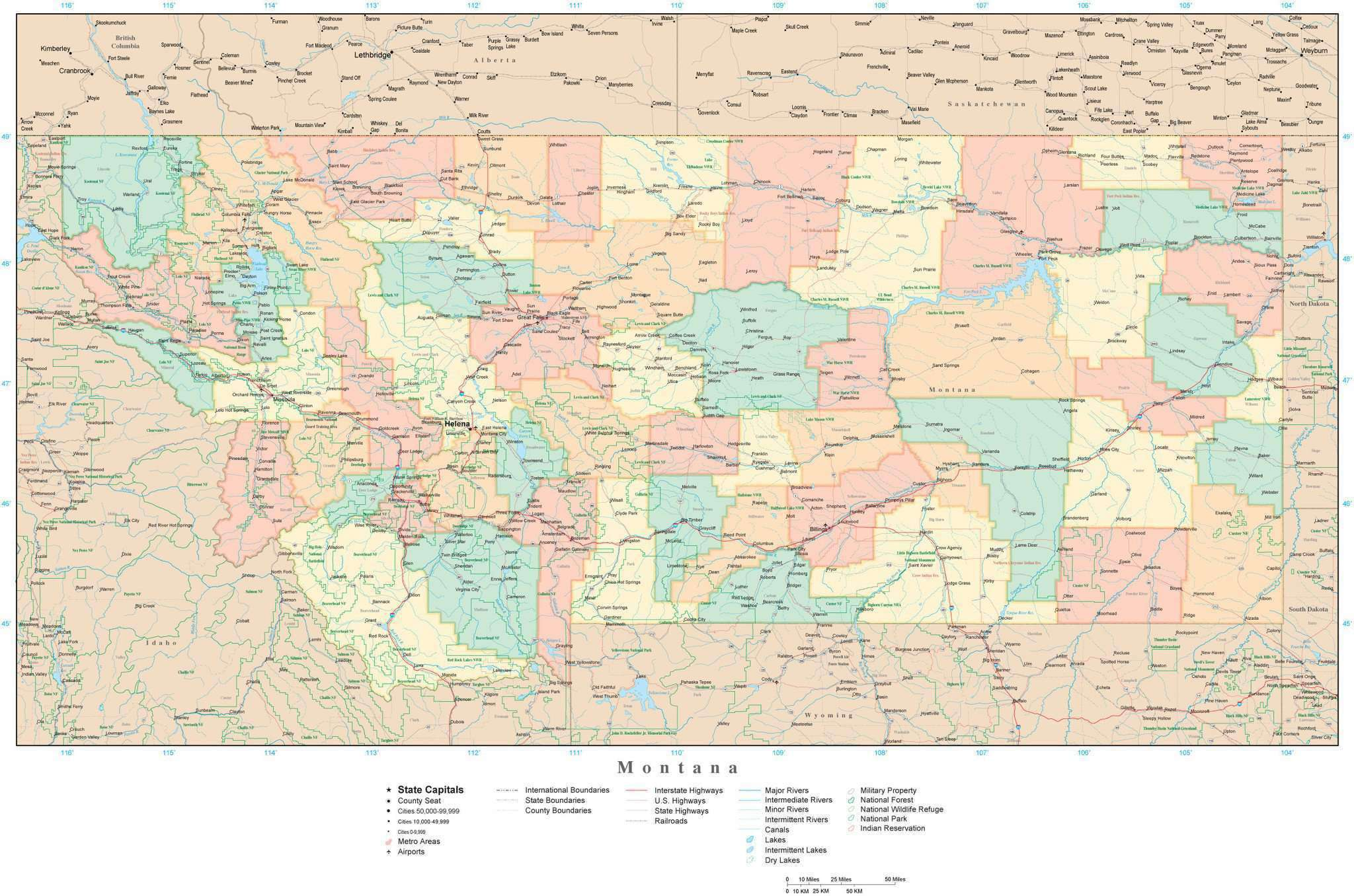 Montana State Map With Counties.Montana State Map In Adobe Illustrator Vector Format Detailed