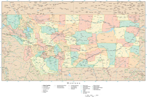 Poster Size High Detail Montana Map with Counties, Cities, Highways, Railroads, Airports, National Parks and more