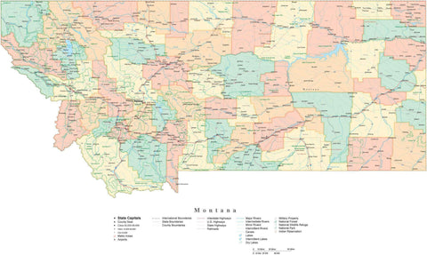Detailed Montana Cut-Out Style Digital Map with Counties, Cities, Highways, and more