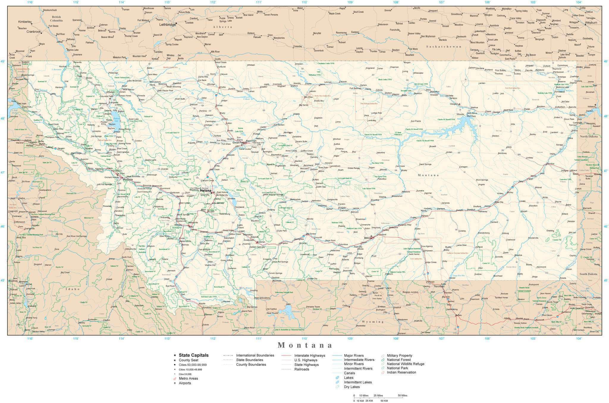 Detailed Montana Digital Map with County Boundaries, Cities, Highways,  National Parks, and more