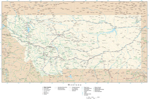 Poster Size Montana Map with County Boundaries, Cities, Highways, National Parks, and more