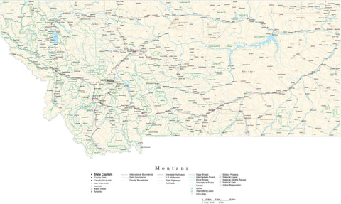 Poster Size Montana Cut-Out Style Map with County Boundaries, Cities, Highways, National Parks, and more