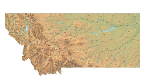 Digital Montana map in Fit Together style with Terrain MT-USA-852099