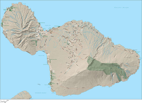Maui Island  HI Map with All Local Streets Plus Terrain