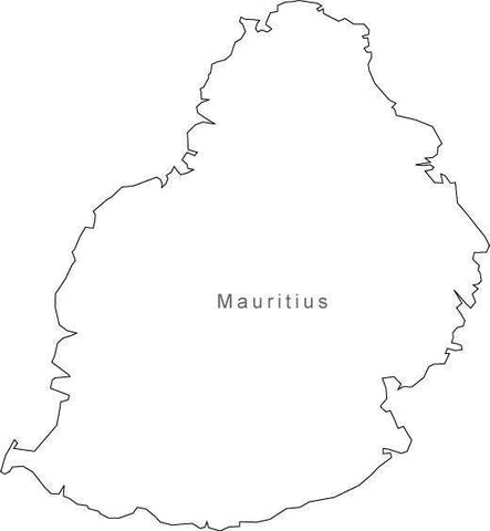 Digital Black & White Mauritius map in Adobe Illustrator EPS vector format