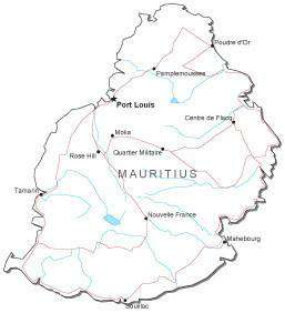 Mauritius Black & White Map with Capital, Major Cities, Roads, and Water Features
