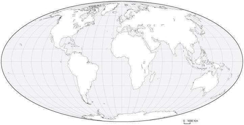 World Black & White Blank Outline Map - Oval Projection