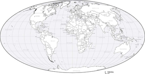 World Black & White Map with Countries - Euro-Centered