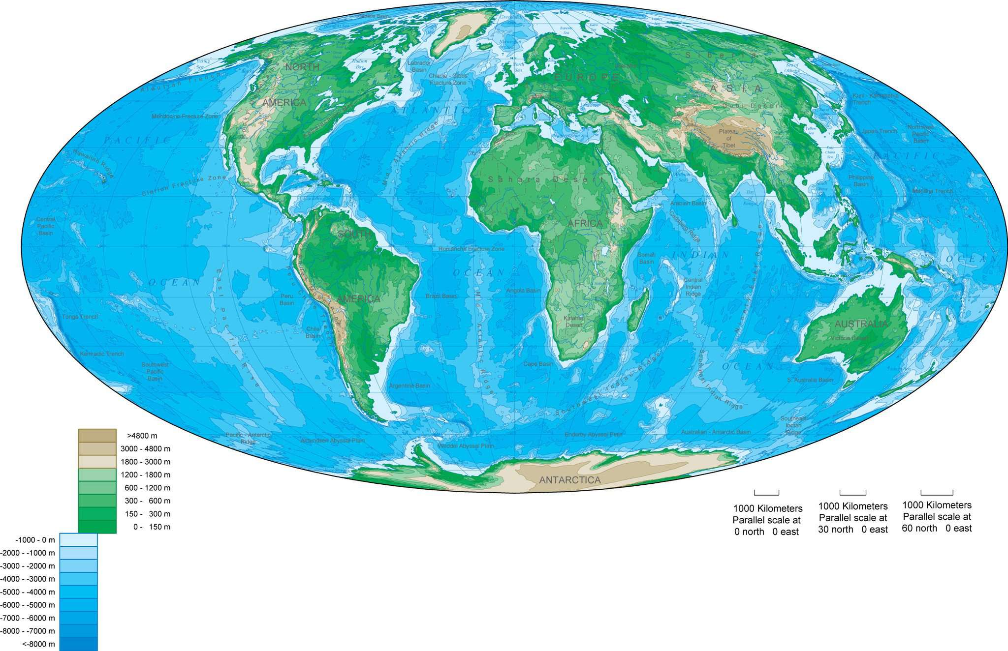 World Map with Contours, Oval, Europe Centered