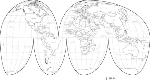 World Black & White Map with Countries - Interrupted Projection