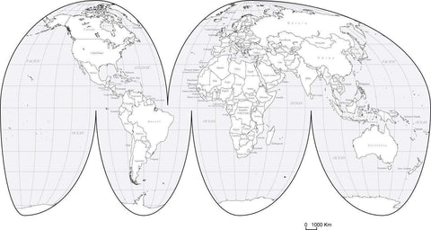 Digital World Interrupted Projection Map with Countries - Black & White