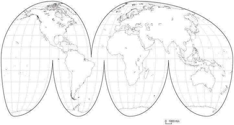 World Black & White Blank Outline Map - Interrupted Projection  Europe Center