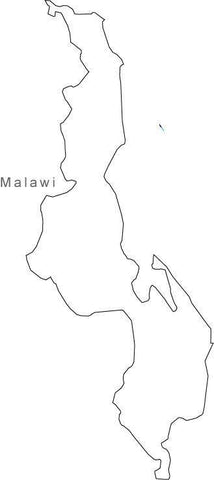 Digital Black & White Malawi map in Adobe Illustrator EPS vector format