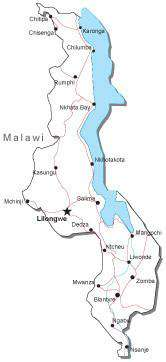 Malawi Black & White Map with Capital, Major Cities, Roads, and Water Features