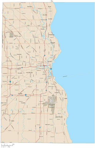 Milwaukee County Wisconsin Map with Arterial and Major Road Network