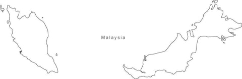 Digital Black & White Malaysia map in Adobe Illustrator EPS vector format