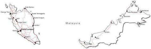 Malaysia Black & White Map with Capital, Major Cities, Roads, and Water Features