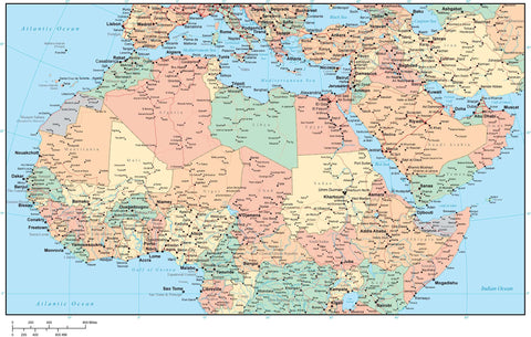 North Africa and Middle East Region Map with Country Areas  Capitals and Cities